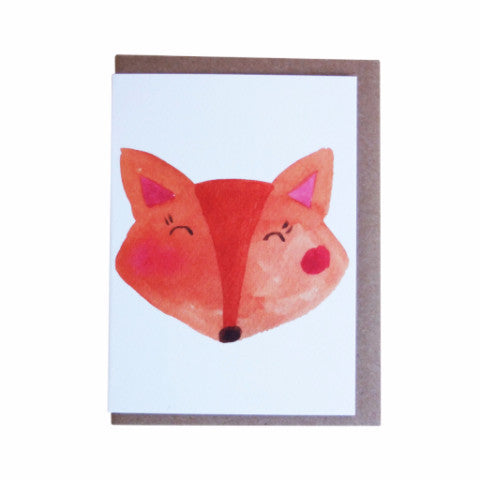 FOX WATERCOLOUR CARD - DOODAH