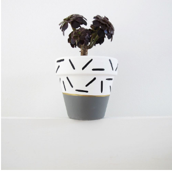 GREY/ DASH PLANT POT- 11CM - DOODAH