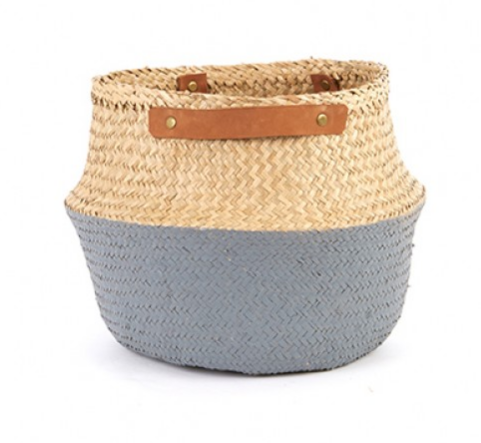 LEATHER HANDLED BELLY BASKET- GREY - DOODAH