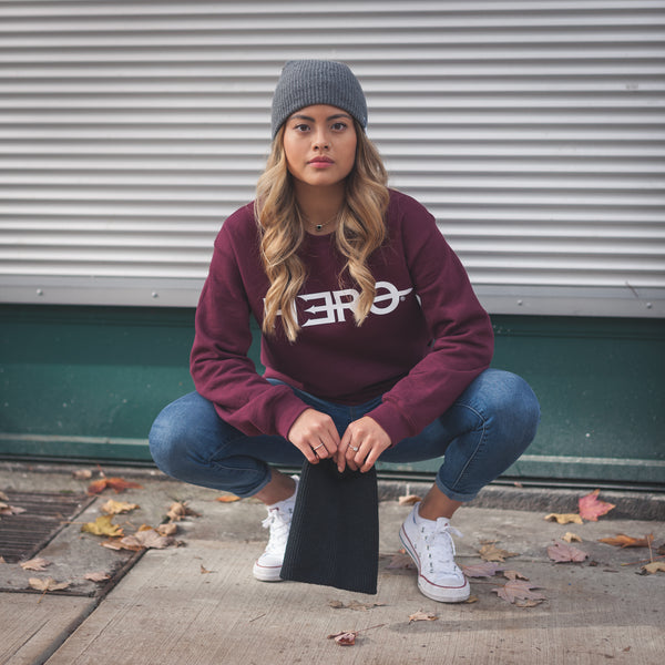 Hero Logo Crewneck Sweater // Maroon