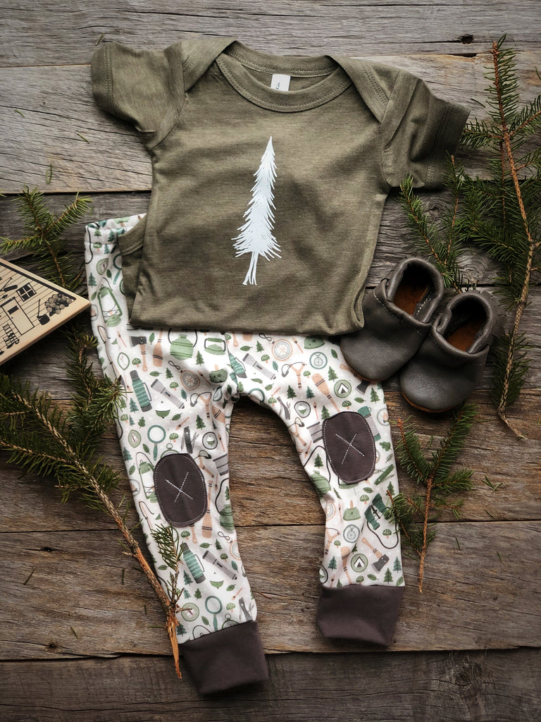 Alpine Tree | Olive Onesie