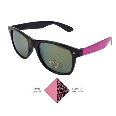 Scratchy's Sunglasses - LIMITED EDITION - Black/Pink - Reflective Lenses