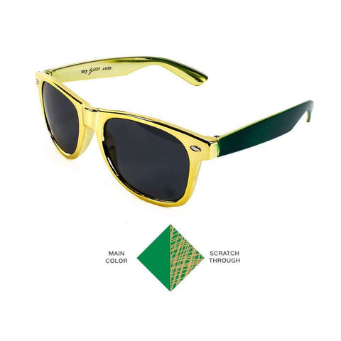 Scratchy's Sunglasses - The World's Only Customizable Scratch Sunglasses - Gold/Green