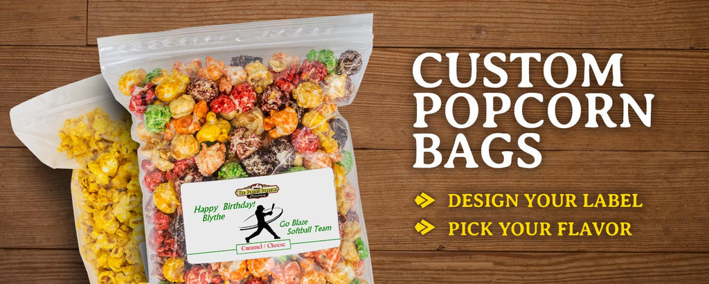 Order Custom Bags of Popcorn with Personalized Labels for Weddings, Birthday Parties, Gender Reveals