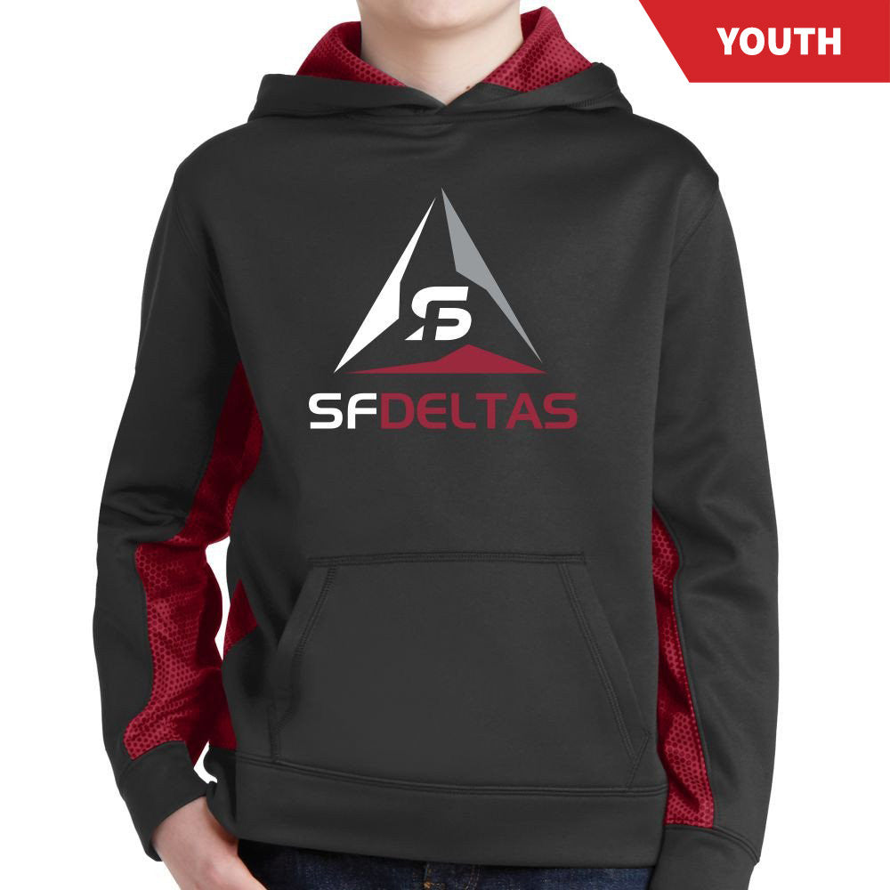 SF Deltas Youth Sport-Wick CamoHex Colorblock Hoody