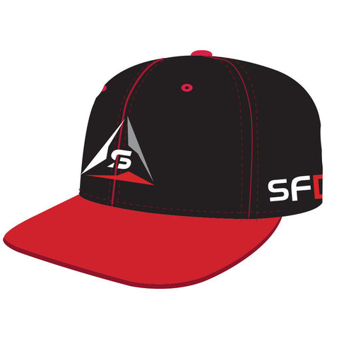 SF Deltas Structured Logo Flat-Brim Hat - Black / Red