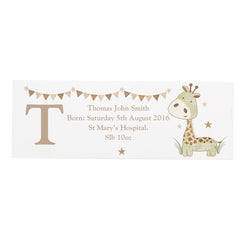 GIraffe Wooden Block Sign