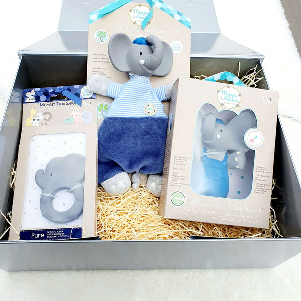 Alvin Elephant Baby Gift Set - Natural Rubber Squeaker, Teether, Comforter, & Organic Cotton Baby Soft Toy Lovey