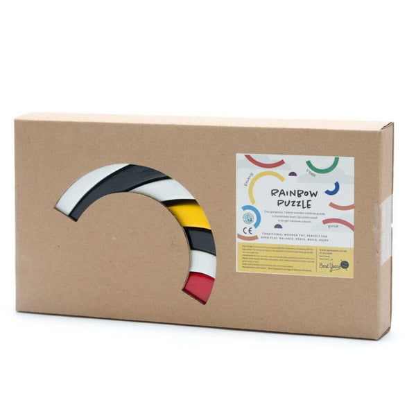 Fairtrade Wooden Rainbow Stacking Toy for 18 months old - Black and White