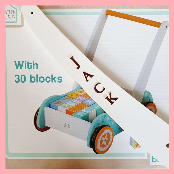 Baby Walker with Blocks - Can be Personalised