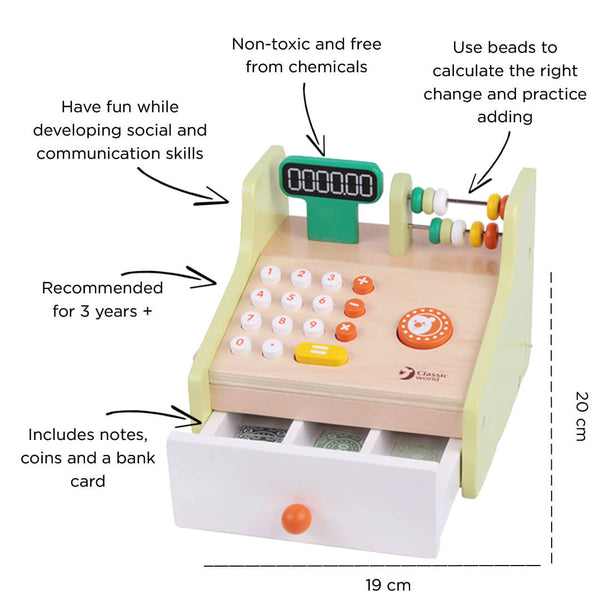 Wooden Shopping Toys - Cash Register for 3 years old