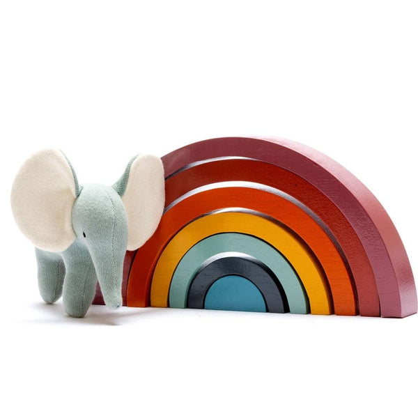 Fairtrade Wooden Rainbow Stacking Toy for 18 months old - Contemporary Colours