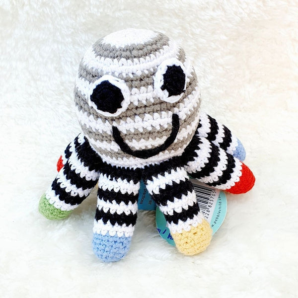 Fair Trade Crochet Cotton Octopus Rattle Soft Toy Black & White Baby Sensory Toy