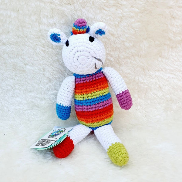 Fair Trade Crochet Cotton Rainbow Unicorn Soft Toy Baby Rattle