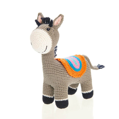 Fair Trade Crochet Cotton Grey Donkey Soft Toy Baby Rattle
