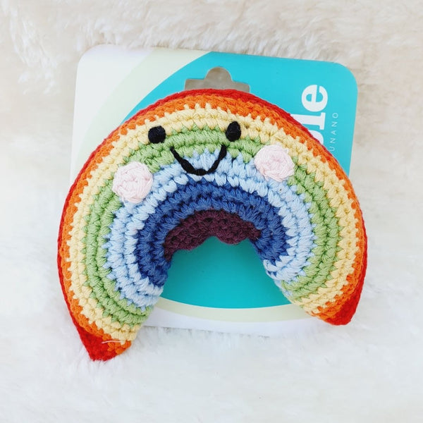 Fair Trade Organic Cotton Original Crochet Rainbow Baby Rattle