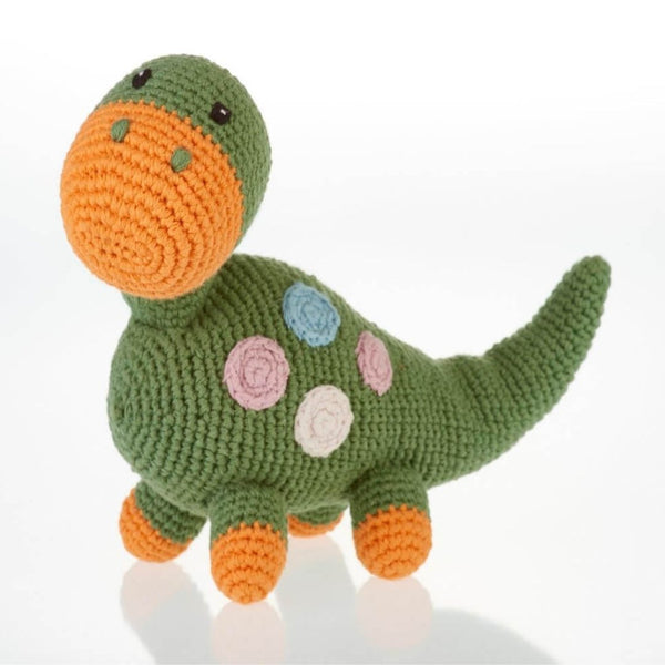 Fair Trade Organic Cotton Baby Dinosaur Soft Toy Rattle Toy Khaki