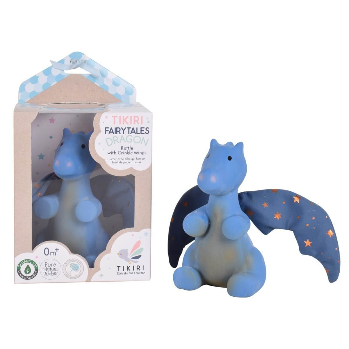 Midnight Dragon Natural Rubber Baby Teether and Rattle with Cotton Crinkle Wings