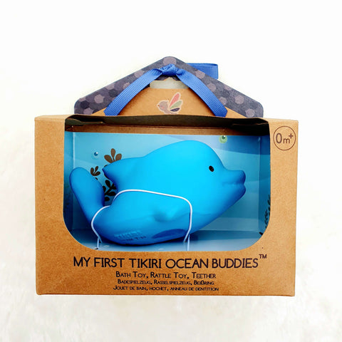 Sea animal Dolphin – Natural Rubber Teether, Rattle & Bath Toy Gift Boxed