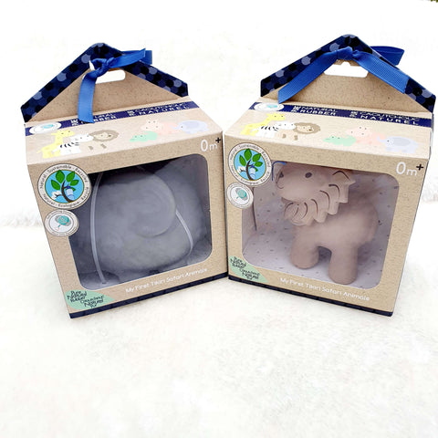 Safari animal Elephant – Natural Rubber Teether, Rattle & Bath Toy Gift Boxed