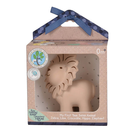 Safari animal Lion – Natural Rubber Teether, Rattle & Bath Toy Gift Boxed