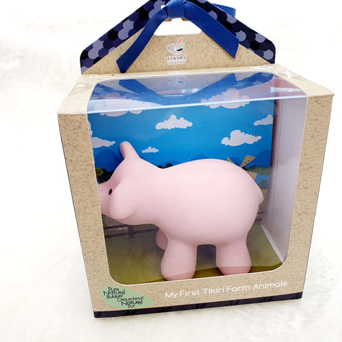 Farm animal Pig – Natural Rubber Teether, Rattle & Bath Toy Gift Boxed