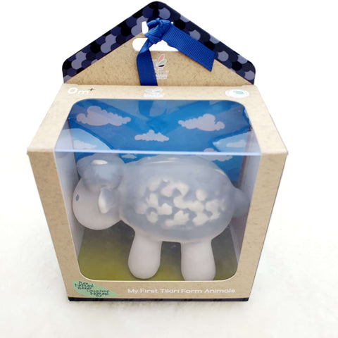 Farm animal Sheep – Natural Rubber Teether, Rattle & Bath Toy Gift Boxed