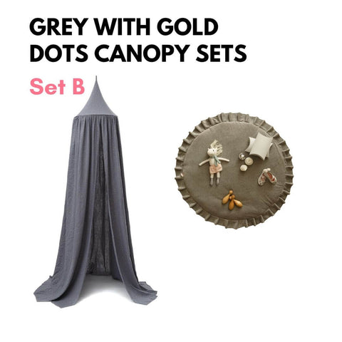 Grey with Gold Dots Canopy Sets Oeko-Tex®100 Certified