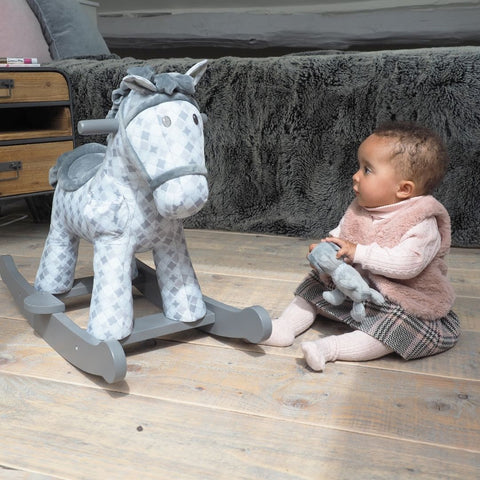 Harper and Chase Grey Rocking Horse for 9 months old