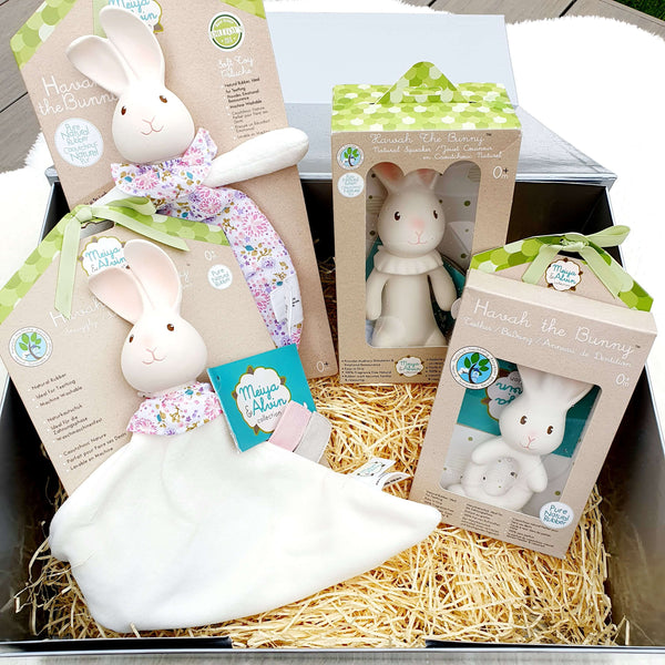 Havah the Bunny Baby Gift Set - Natural Rubber Squeaker, Teether, Comforter, & Organic Cotton Baby Soft Toy or Baby Lovey