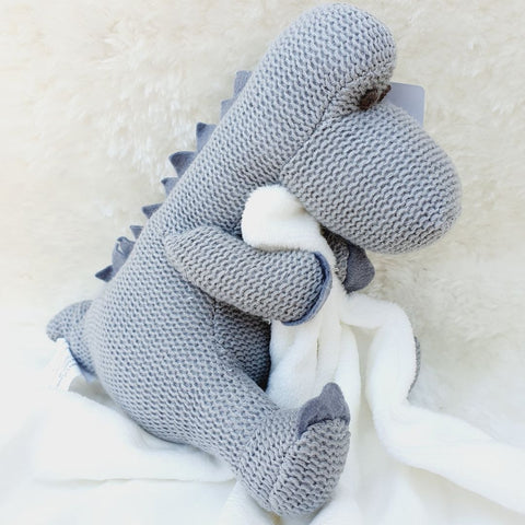 Knitted Grey Diplodocus Dinosaur with Blanket Comforter