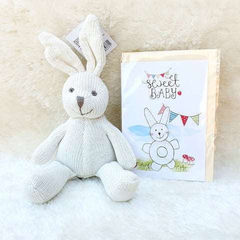 Organic Cotton Knitted White Bunny Soft Toy Baby Rattle (Matching Card Available)