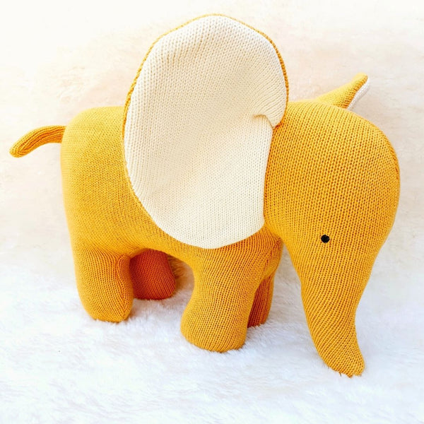 Organic Cotton Mustard Elephant Soft Toys Large