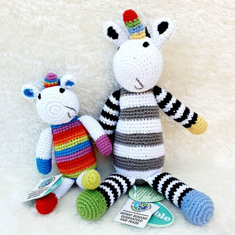 Fair Trade Crochet Cotton Black & White Unicorn Rattle Soft Toy Sensory Toys