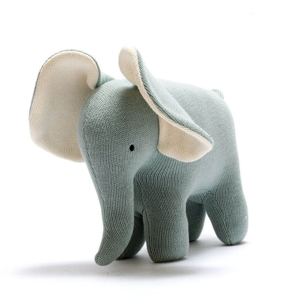 Organic Cotton Teal Elephant Soft Toys Large