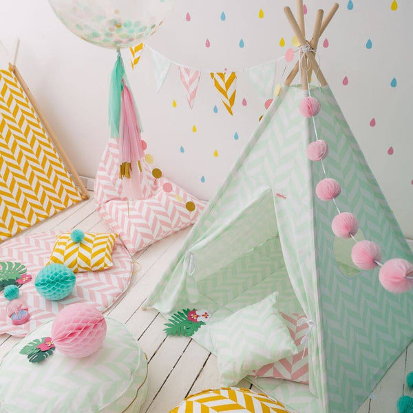 Mint Green Herringbone Teepee Sets OEKO-TEX®100 Certified