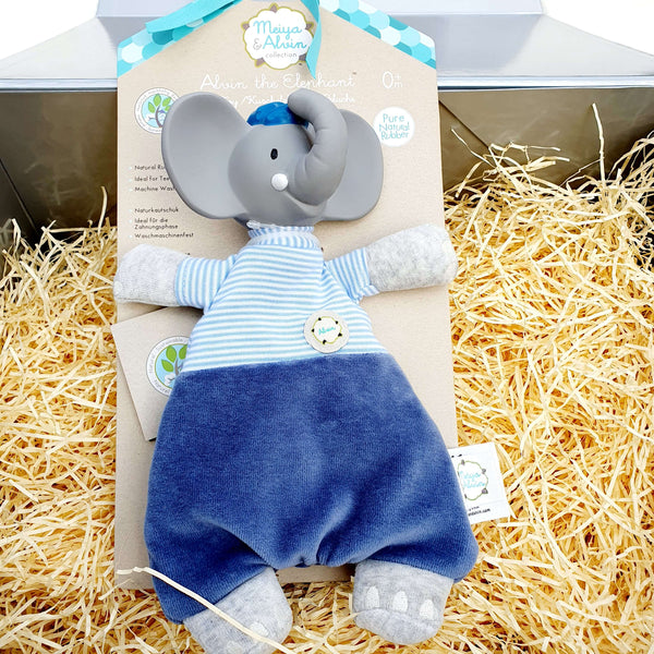 Alvin the Elephant Organic Cotton Baby Lovey and Natural Rubber Teether