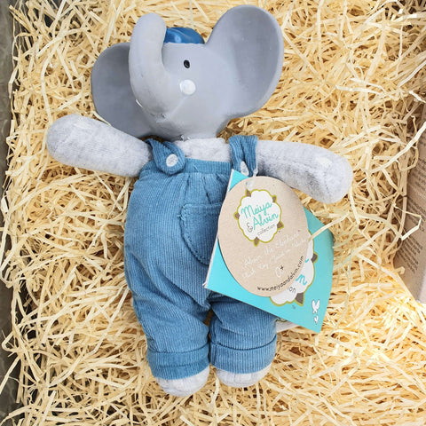 Alvin the Elephant Organic Cotton Baby Soft Toy and Natural Rubber Teether