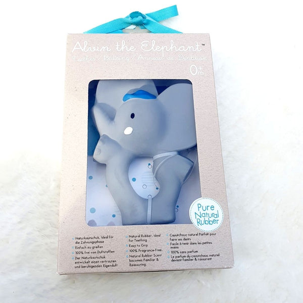 Alvin Elephant Natural Rubber Teether Ring Gift Boxed