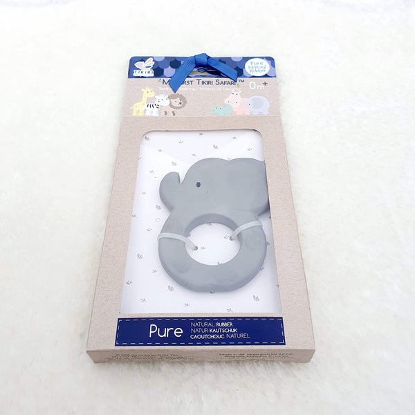 Elephant Natural Rubber Teether Ring Gift Boxed