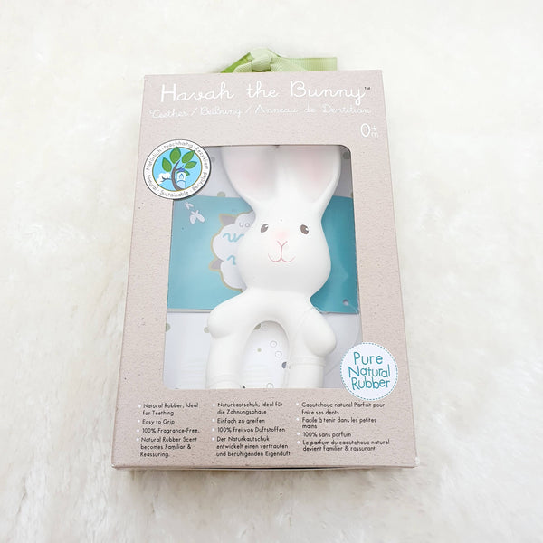 Havah Bunny Natural Rubber Teether Ring Gift Boxed