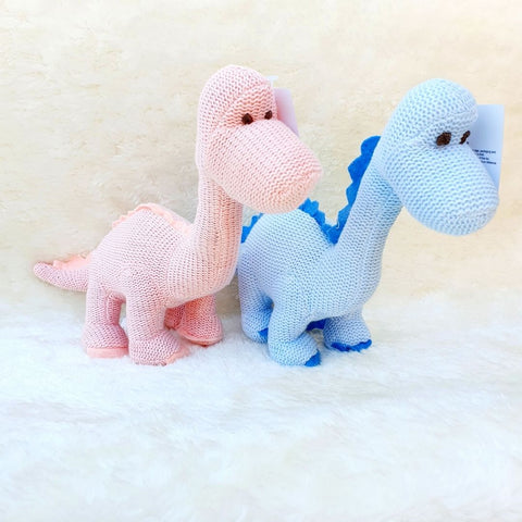 Organic Cotton Blue Dinosaur Knitted Diplodocus Soft Toy Baby Rattle (Matching Card Available)