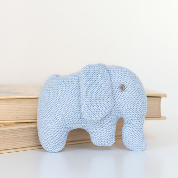 Organic Cotton Knitted Blue Elephant Soft Toy Baby Rattle (Matching Card Available)
