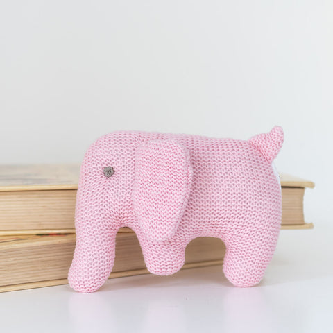 Organic Cotton Knitted Pink Elephant Soft Toy Baby Rattle (Matching Card Available)