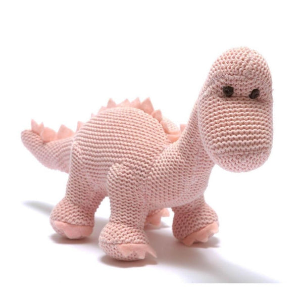 Organic Cotton Pink Dinosaur Knitted Diplodocus Soft Toy Baby Rattle (Matching Card Available)