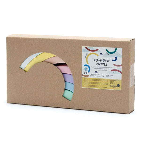 Fairtrade Wooden Rainbow Stacking Toy for 18 months old - Pastel colours