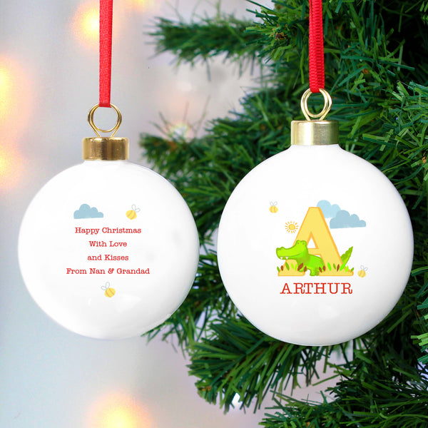 Personalised Animal Alphabet Christmas Tree Bauble