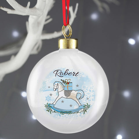 Personalised Blue Rocking Horse Christmas Tree Bauble