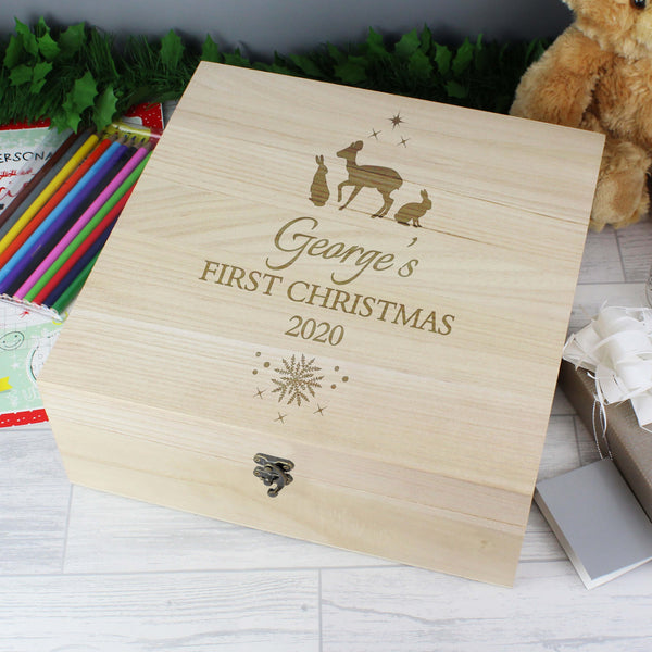 Personalised Large Wooden Keepsake Christmas Eve Box