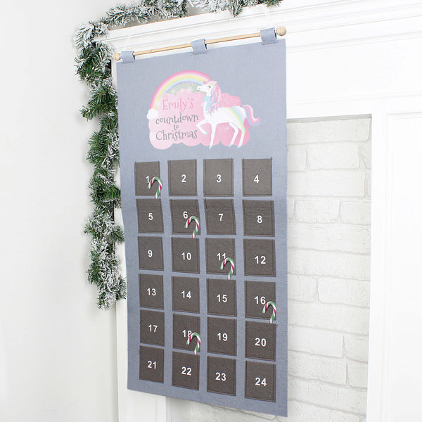 Personalised Unicorn Felt Pocket Christmas Advent Calendar